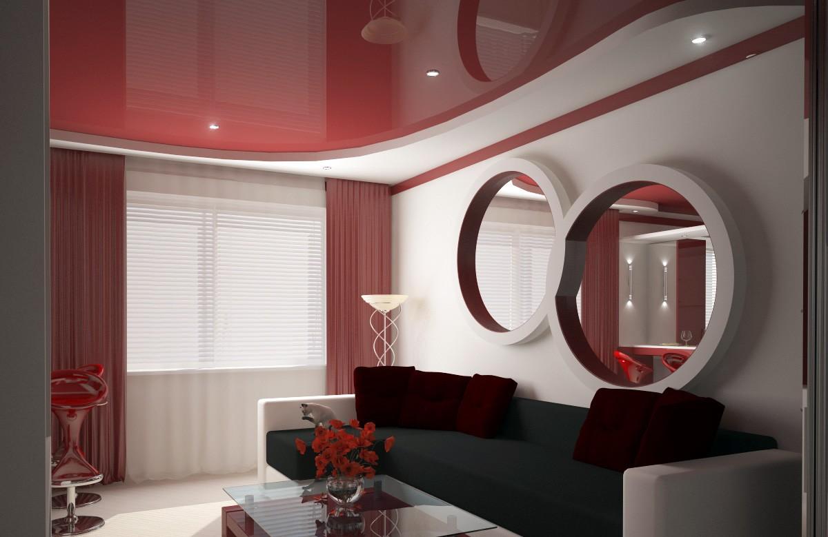 Бордовый глянцевый натяжной потолок в коробе из гипсокартона в гостиной
