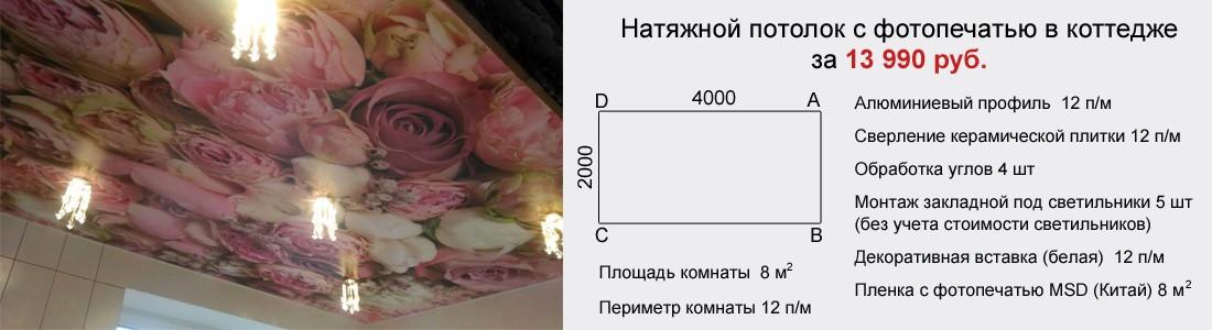 Натяжной потолок с фотопечатью в коттедже 8 кв.м за 13990 руб