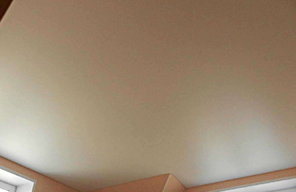 Матовый натяжной потолок цвета слоновой кости