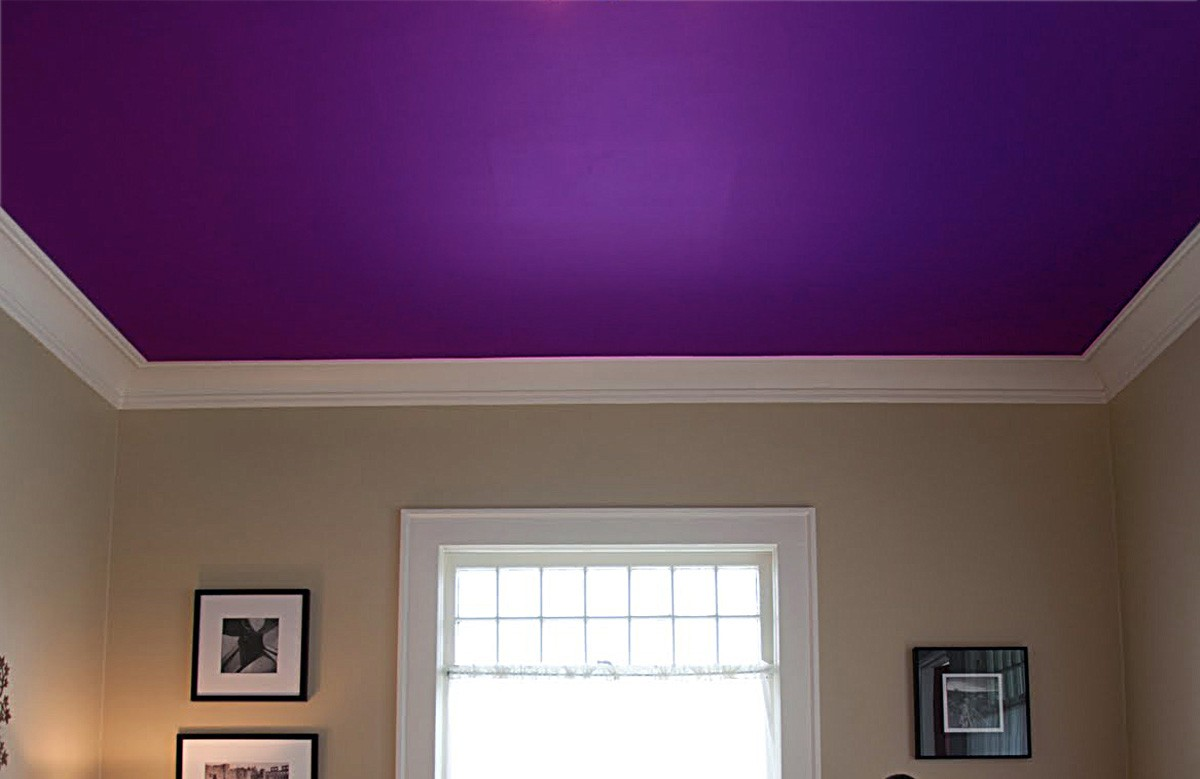 Фиолетовый матовый натяжной потолок