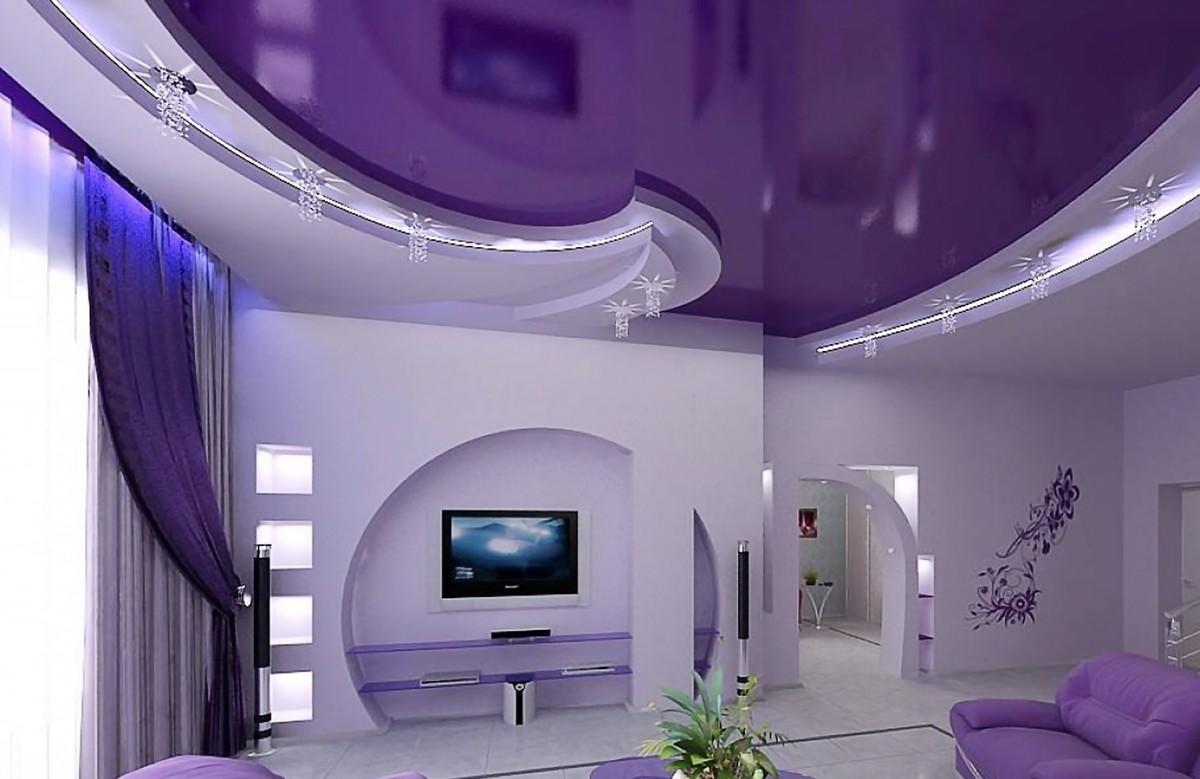 Фиолетовый глянцевый натяжной потолок в коробе из гипсокартона